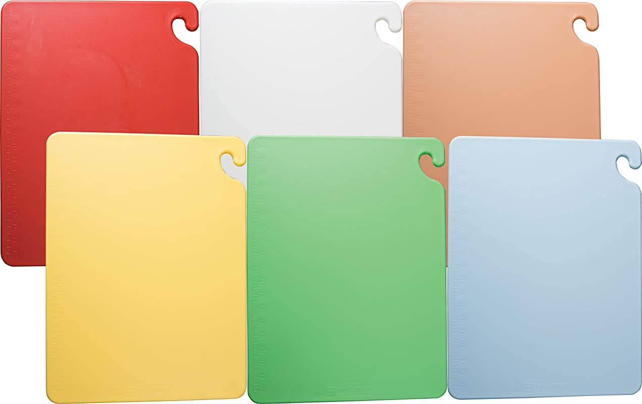 San Jamar CB1824KC 6 Piece Cut N Carry Co Polymer Board System Set With Color Coding Chart 24 Length X 18 Width X 1 2 Thick