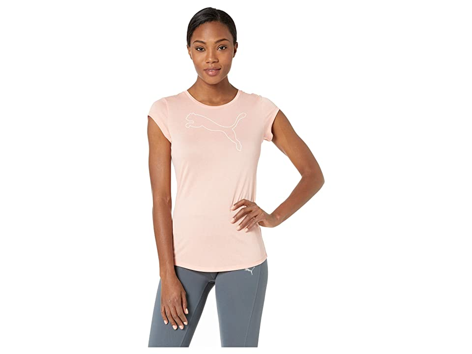 PUMA Active Logo Heather Tee (Peach Bud Heather) Women