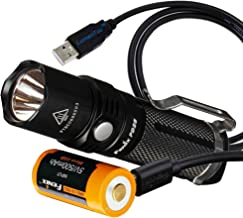 Fenix PD25 550 Lumens CREE XP-L LED Pocket Flashlight with Fenix Rechargeable Battery (Built-In Charging Port) & LumenTac ...