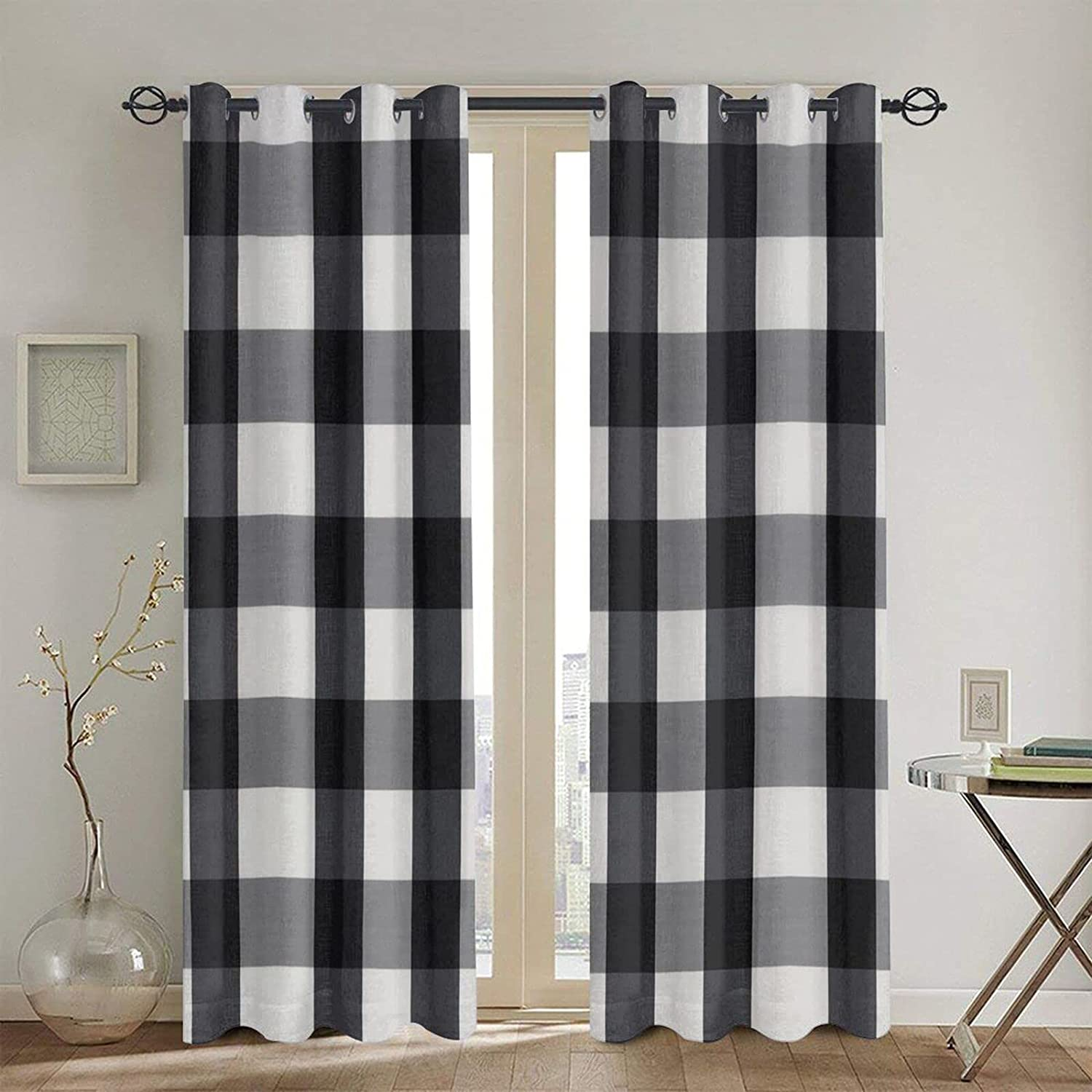 Popularity Black and White Plaid Printed Curtains Bedroom Max 64% OFF Blackout 52 for