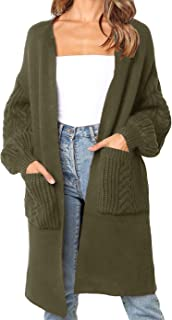 Jiangyinga Womens Open Front Long Cardigans Casual Ribbed Pockets Loose Sweaters
