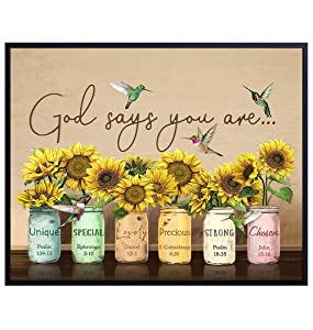 God Says You Are Wall Art - Christian Affirmations - Religious Encouragement Gifts for Women - Inspirational, Psalms, Bible Verses, Scripture Wall Decor - Catholic Gifts - Motivational Positive Quotes