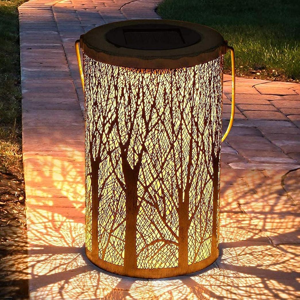 ぜいたくもつれ枯れるLEDソーラーランタンアウトドア、ポーチ芝生コートヤード歩道私道のクリスマスのためのナイトライトIP44防水装飾ハンギングガーデンランタン円筒形のランプ