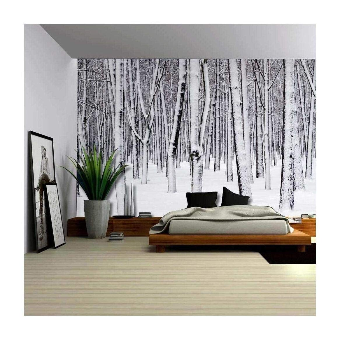 winter murals amazon comwall26 mural of a forest covered in a blanket of snow wall mural,