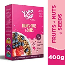 Yogabar Wholegrain Breakfast Muesli Fruits, Nuts + Seeds, 400g (Single Pack)