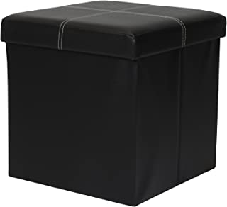 Otto & Ben Folding Toy Box Chest with Memory Foam Seat, Faux Leather Small Ottomans Bench Foot Rest Stool, Line Black