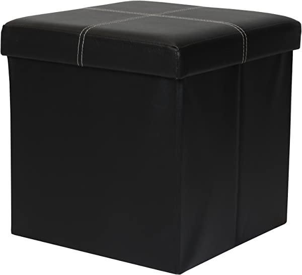 Otto Ben 15 Storage Ottoman Folding Toy Box Chest With Memory Foam Seat Faux Leather Small Ottomans Bench Foot Rest Stool Line Black
