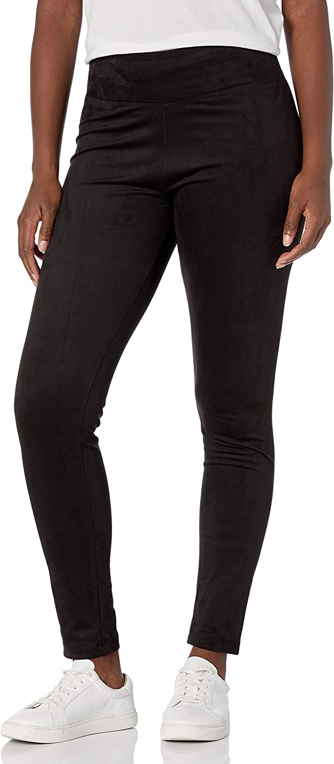 Peds Women's Faux Suede Legging with Wide Comfort Waistband