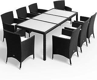 Deuba Conjunto de sillas y Mesa 8+1 de poliratán Negro Sillas apilables Cojines 7cm de Grosor Lounge Muebles Exteriores