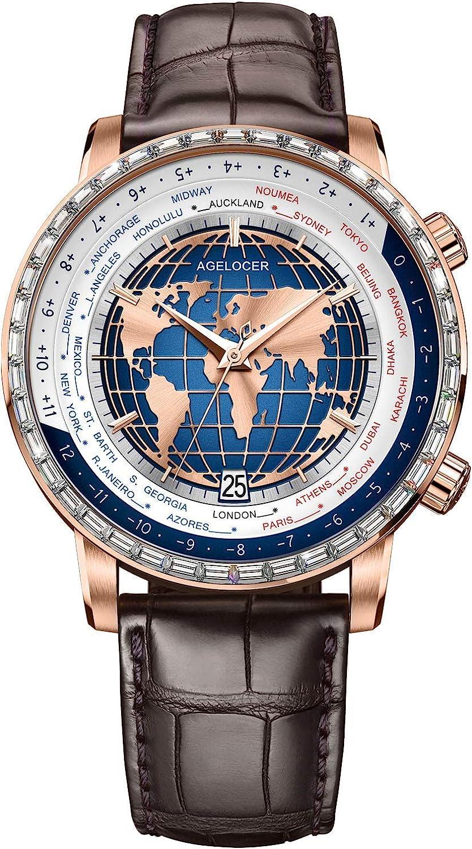 Agelocer Reloj automático mecánico para hombre de fase lunar azul con calendario masculino