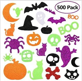 WAASII Halloween Foam Stickers Glitter Foam Stickers Halloween Self-Adhesive Craft Stickers with Pumpkin Ghost Design for Halloween Party Decorations, 500 Pieces