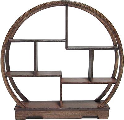 木製 アンティーク 調 飾り棚 ラック 香炉台 瓶台 花台 盆栽台 珍品棚 中国茶器 オブジェ (円形)
