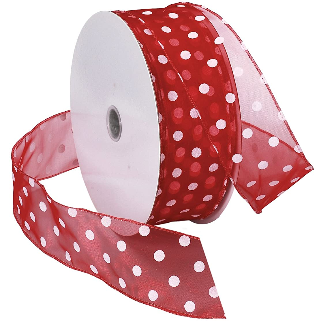 Morex Ribbon Wired Sheer Dots Fabric Ribbon, 2-Inch by 50-Yard Spool, Red/White Dots