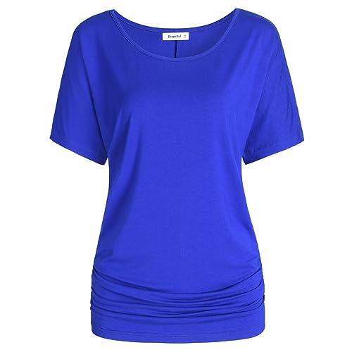 471e9c319f Esenchel Women s Short Sleeves Dolman Top Scoop Neck Drape Shirt