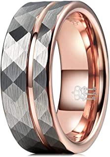 THREE KEYS JEWELRY Mens Womens Silver Tungsten Rings 4mm 6mm 8mm Hammered Facet Brushed with Rose Gold Stripe Wedding Bands