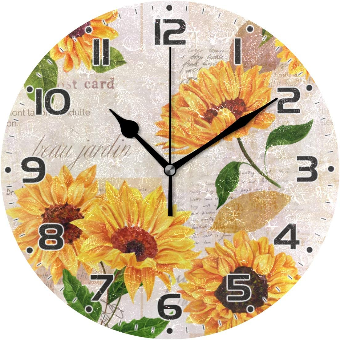 Qilmy Sunflower Wall Oklahoma City Mall Clock Non Decorative Art Rou Silent Ticking Direct sale of manufacturer