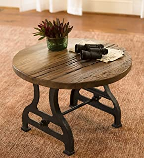 Plow & Hearth Birmingham Round End Table in Reclaimed Wood and Metal