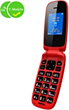 Ushining Unlocked GSM 2G Flip Phone Dual SIM Dual Standby Only for Carrier T-Mobile - Red