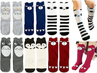 Toptim Baby Girls Boys Knee High Stockings Unisex Cartoon Animal Socks 6 Pairs (0-3T)