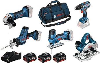 Bosch Professional 0615990L59 Atornillador GSR 18V-28, calar GST S, Amoladora Angular GWS 18-125V-LI, Circular GKS, Sierra Sable GSA 18V-LI C (3 baterías, Bolsa)