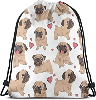 Funny Cartoon Pugs Puppies Drawstring Bag Backpack Travel Gymsack Drawstring Backpack Sackpack