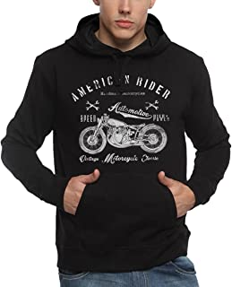 ADRO Men's American Rider Biker Printed Cotton Hoodies