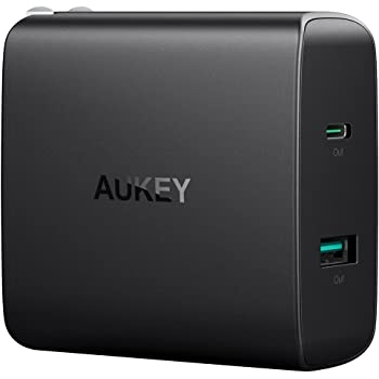 AUKEY USB充電器 ACアダプター 46W USB Type-C Power Delivery 3.0 + 5V/2.1A スマホ充電器 MacBook/Pro, iPhone X / 8 / Plus, iPhone 11/11 Pro/11 Pro Max等,Samsung Note8 など対応 PA-Y10【PSE認証済み】
