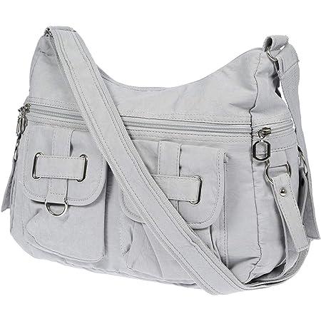 Christian Wippermann Damenhandtasche Schultertasche aus Canvas (Hellgrau)