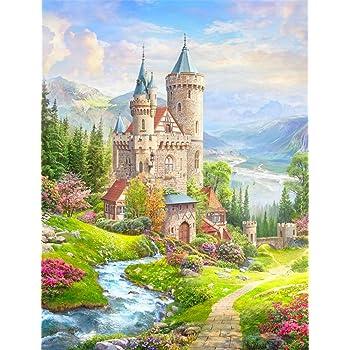 Diyの油絵子供のためのデジタル油絵大人初心者16x20インチ、城--クリスマスの装飾ホームインテリアギフト (フレームなし)