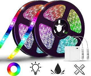 SOLMORE LED Ruban 4M Bande LED Luminaire Battery Boite à Pile Étanche IP65 60 LEDs RGB Mode'Éclairage Couleur Luminosité V...