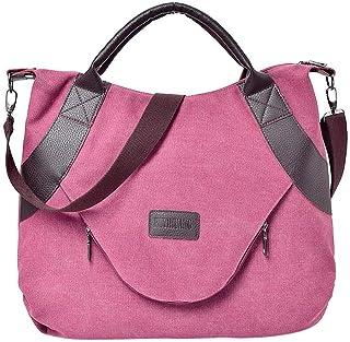 Wultia - Bags for Women Retro Women's Canvas Zipper Shoulder Bags with Corssbody Bag&Handbag Bolsa Feminina Wine