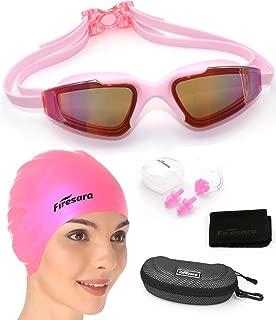 Firesara Swim Cap Swim Goggles, 3D Ergonomic Silicone Swimming Caps for Long Hair Women Short Hair Men Kids Adult with Anti Fog UV Protection Goggles Set Keep Hair Eyes Clean Plus Nose Clip Ear Plugs