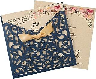 Doris Home 50pcs Blue Square Laser Cut Wedding Invitation Cards Kit with Hollow Flora Favors