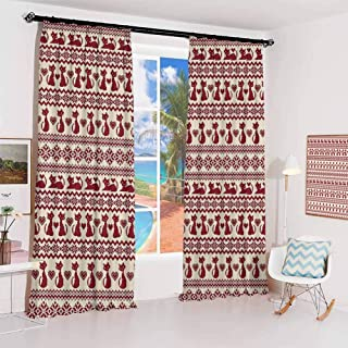 Nordic Pleated curtains with blackout and lining Cat Pattern with Pixel Art Inspirations Feline Valentines Love Animals Illustration Used for Living room bedroom with sliding door patio door W72 x L7