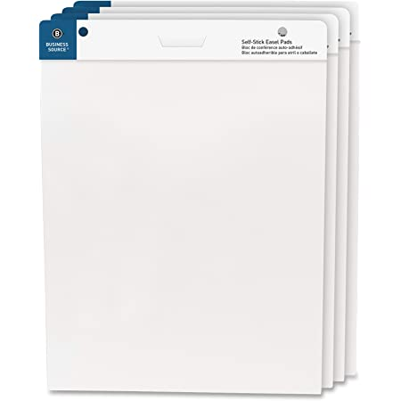 """Business Source 25""""x30"""" Self-Stick Easel Pads, 4/Pack (38592)"""