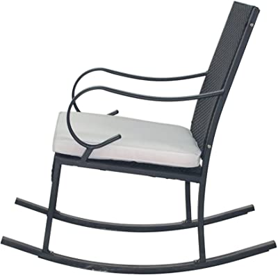 Christopher Knight Home 304354 Muriel Outdoor Wicker Rocking Chair (Set of 2), Black/White Cushion