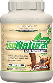 Allmax ISONatural Whey Protein Isolate, Amazing Taste Dietary Supplement, Chocolate 5 Pound