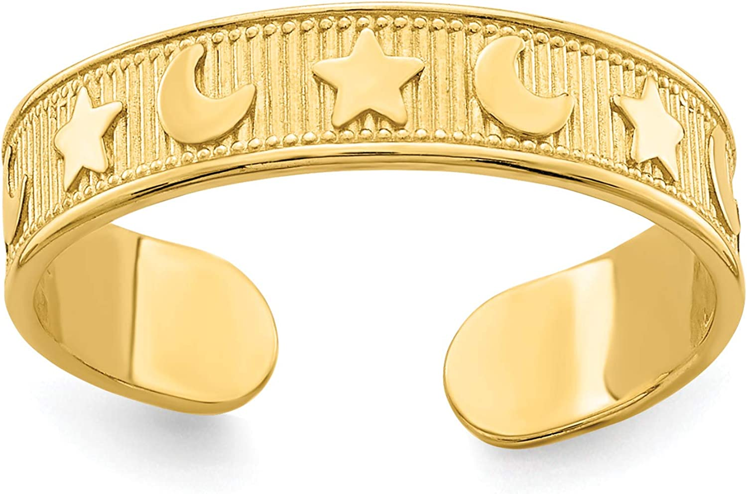 14k Yellow Gold Polished Moon and Stars on Textured Toe Ring