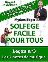 Solfège Facile Pour Tous ou Comment Apprendre Le Solfège en 20 Jours ! - Leçon N°3: Les 7 notes de musique (French Edition)