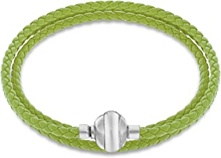 Tuscany Charms Silver Magnetic Green Plaited Leather Charm Bracelet