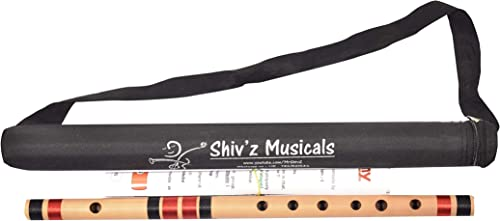 Shiv z Muzic Flute C Sharp 6 Holes 17 inches Medium Bansuri FREE Written Manual Bag