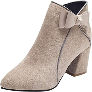 Kauneus Ankle Booties for Women Bowknot Pointed Toe Suede High Heel Short Boot Europe and America Fashion Boots