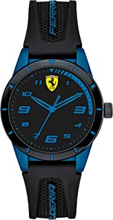 Ferrari Boy's RedRev Quartz TR90 and Silicone Strap Casual Watch, Color: Black (Model: 860007)