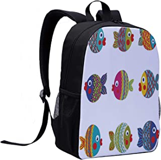 Ocean Animal Decor Casual Backpack,Boho Ethnic Featured Ornate Fish Gills Water Childish Kids Nursery Theme for College,12″L x 5″W x 17″H
