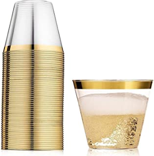 120 Gold Plastic Cups 9 oz | Hard Clear Disposable Tumblers | Perfect for Party, Wedding, Holiday, Baby Shower or any Special Event