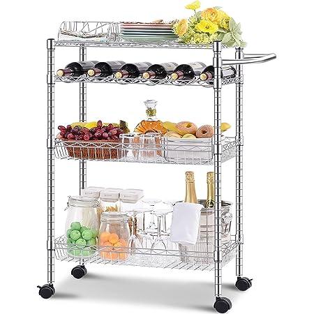 KINGRACK Drinks Trolley, 4-Tier Large Metal Storage Trolley on Wheels, Kitchen Serving Cart with Wine Rack, Multi-Purpose Rolling Utility Organiser Shelves for Restaurant Dining Room Home Bar