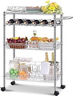 kingrack Chariot de service pour cuisine, micro-ondes, 3 ou 4 étages, chariot de rangement robuste, design moderne, chario...