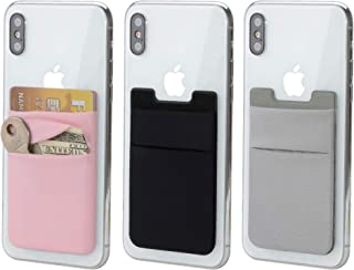 3 Pack Adhesive Phone Card Holder, BAIMAHUI Stretchy Credit Card Stick on Wallet Pocket Sleeve Compatible with iPhone, Samsung, Most Android Smart Phones (Black Gray Pink)
