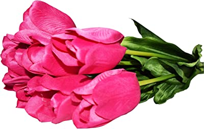 Fourwalls Synthetic Big Tulip Flower (Set of 10, Pink)