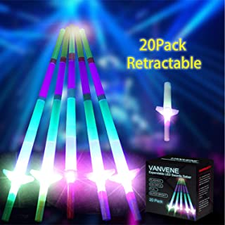 VANVENE Light Saber LED Sword Toys Glow in Dark [20 Pack] 4-Section 5 Colors Bulk, Expandable Mini Glow Foam Sticks for Birthday Party Favor Supplies Chirstmas Decor - Batteries Installed